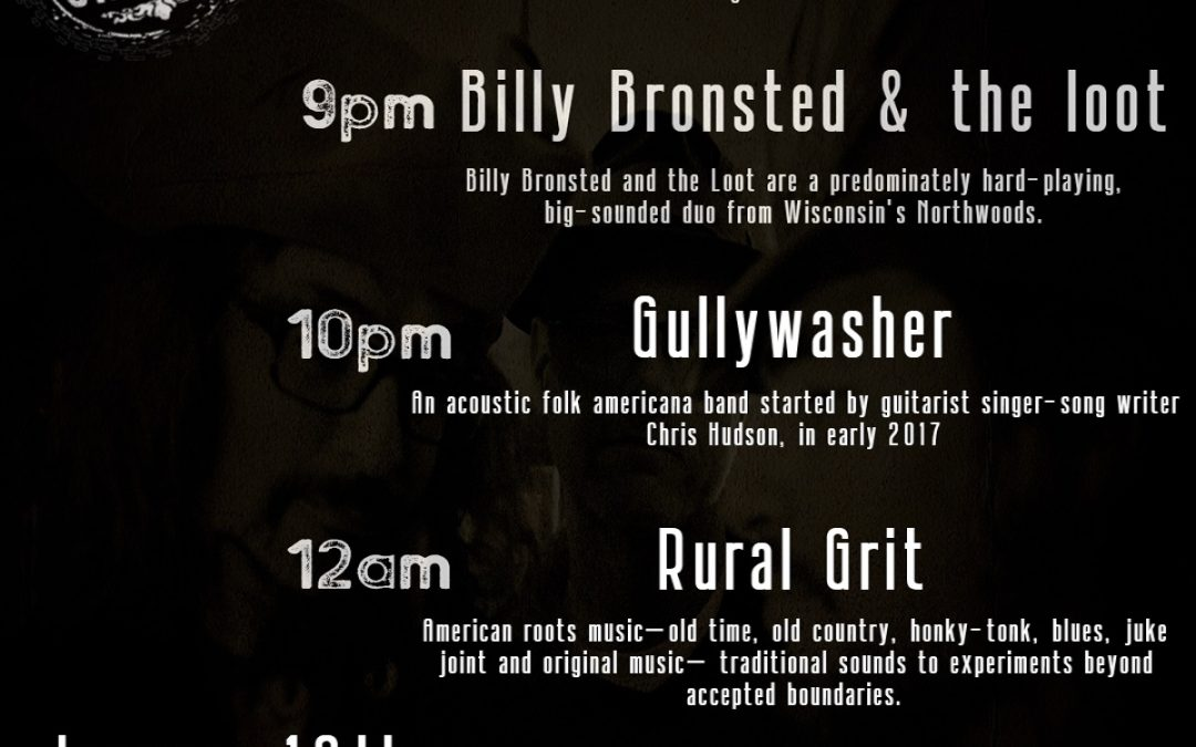 Listening Party, Billy Bronsted, Gullywasher, Rural Grit Allstars